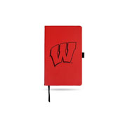 Wisconsin University Team Color Laser Engraved Notepad W/ Elastic Band - Red