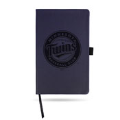 Twins Team Color Laser Engraved Notepad W/ Elastic Band - Navy