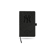 Yankees Laser Engraved Black Notepad With Elastic Band