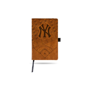 Yankees Laser Engraved Brown Notepad With Elastic Band