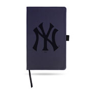 Yankees Team Color Laser Engraved Notepad W/ Elastic Band - Navy