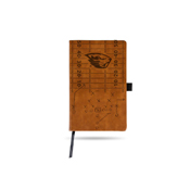 Oregon State Laser Engraved Brown Notepad With Elastic Band