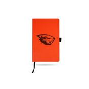 Oregon State Team Color Laser Engraved Notepad W/ Elastic Band - Orange