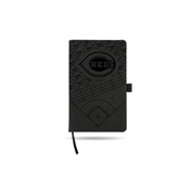 Reds Laser Engraved Black Notepad With Elastic Band