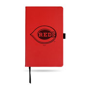 Reds Team Color Laser Engraved Notepad W/ Elastic Band - Red