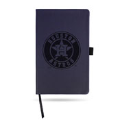 Astros Team Color Laser Engraved Notepad W/ Elastic Band - Navy