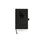 Dodgers Laser Engraved Black Notepad With Elastic Band