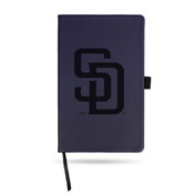 Padres Team Color Laser Engraved Notepad W/ Elastic Band - Navy