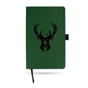 Bucks Team Color Laser Engraved Notepad W/ Elastic Band - Green