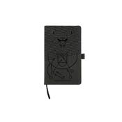 Bulls Laser Engraved Black Notepad With Elastic Band