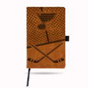 Blues Laser Engraved Brown Notepad W/ Elastic Band (Hockey Rink W/ Blues Logo)