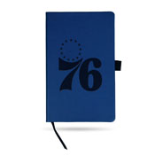 76Ers Team Color Laser Engraved Notepad W/ Elastic Band - Royal