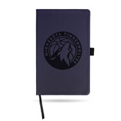 Timberwolves Team Color Laser Engraved Notepad W/ Elastic Band - Navy