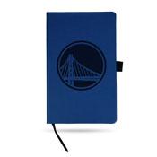 Warriors Team Color Laser Engraved Notepad W/ Elastic Band - Royal