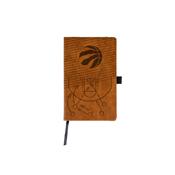 Raptors Laser Engraved Brown Notepad With Elastic Band
