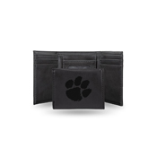 Clemson Laser Engraved Black Trifold Wallet