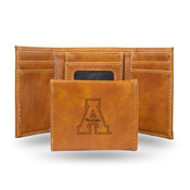 Appalachian State Laser Engraved Trifold Wallet - Brown