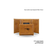 Patriots Brown Faux Leather Laser Engraved Trifold With Black Logo