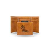 Mississippi University Laser Engraved Brown Trifold Wallet
