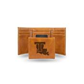 Louisiana Tech Laser Engraved Brown Trifold Wallet