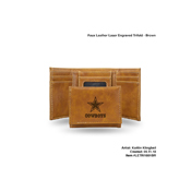 Cowboys Brown Faux Leather Laser Engraved Trifold With Black Logo