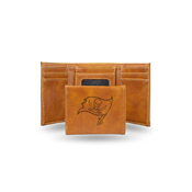 Buccaneers Laser Engraved Brown Trifold Wallet