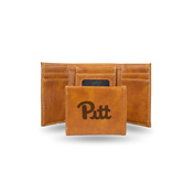 Pitt Laser Engraved Brown Trifold Wallet
