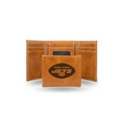 Jets Laser Engraved Brown Trifold Wallet