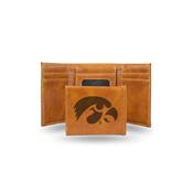 Iowa University Laser Engraved Brown Trifold Wallet