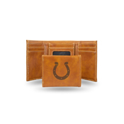 Colts Laser Engraved Brown Trifold Wallet
