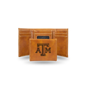 Texas A&M Laser Engraved Brown Trifold Wallet