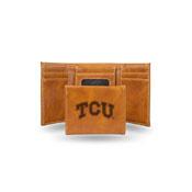 Tcu Laser Engraved Brown Trifold Wallet