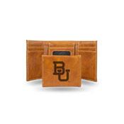 Baylor Laser Engraved Brown Trifold Wallet
