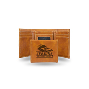 Texas - San Antonio Laser Engraved Brown Trifold Wallet