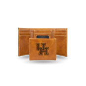 Houston Laser Engraved Brown Trifold Wallet