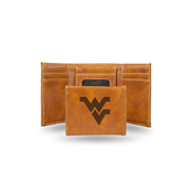 West Virginia University Laser Engraved Brown Trifold Wallet