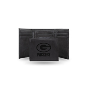 Packers Laser Engraved Black Trifold Wallet