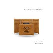 Packers Brown Faux Leather Laser Engraved Trifold With Black Logo