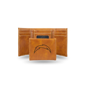 Chargers Laser Engraved Brown Trifold Wallet