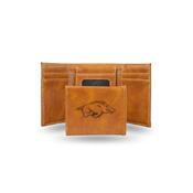 Arkansas University Laser Engraved Brown Trifold Wallet