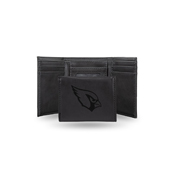 Cardinals - Az Laser Engraved Black Trifold Wallet