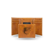 Orioles Laser Engraved Brown Trifold Wallet