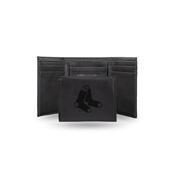 Red Sox Laser Engraved Black Trifold Wallet