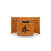 Red Sox Laser Engraved Brown Trifold Wallet