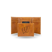 Wisconsin University Laser Engraved Brown Trifold Wallet