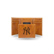 Yankees Laser Engraved Brown Trifold Wallet