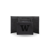 Washington University Laser Engraved Black Trifold Wallet