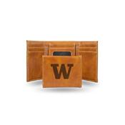 Washington University Laser Engraved Brown Trifold Wallet