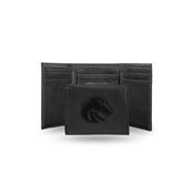 Boise State Laser Engraved Black Trifold Wallet