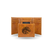 Boise State Laser Engraved Brown Trifold Wallet